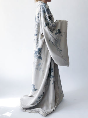 Antique Gray Couched Silk Kimono Roses and Cherry Blossoms