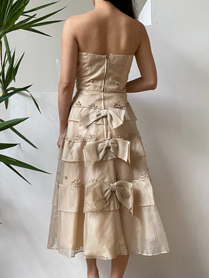 1950s Silk Organza Beige Bow Dress - S