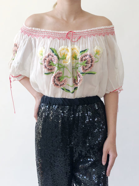1920s Ivory Embroidered Top - M
