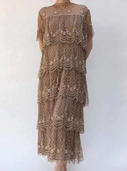 1960s Tiered Chocolate Silk Lace Dress - S/M