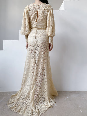 1930s Puff Sleeves Lace Wedding Gown - S