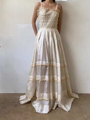 Antique Lace and silk Dress -  S