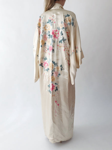 1920s Ivory Silk Floral Embroidered Kimono - One Size