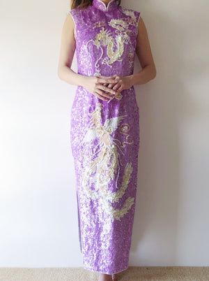 1960s Lavender Sequined Cheongsam - S/M