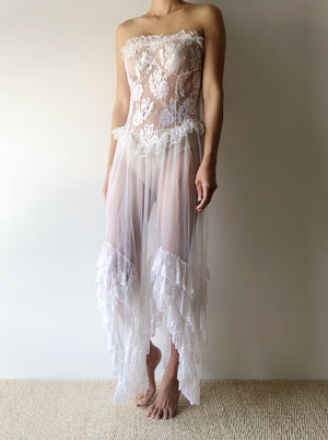 Vintage White Strapless Lace Negligee - S