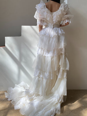Vintage Ivory Puff Sleeve Ruffle Gown - S
