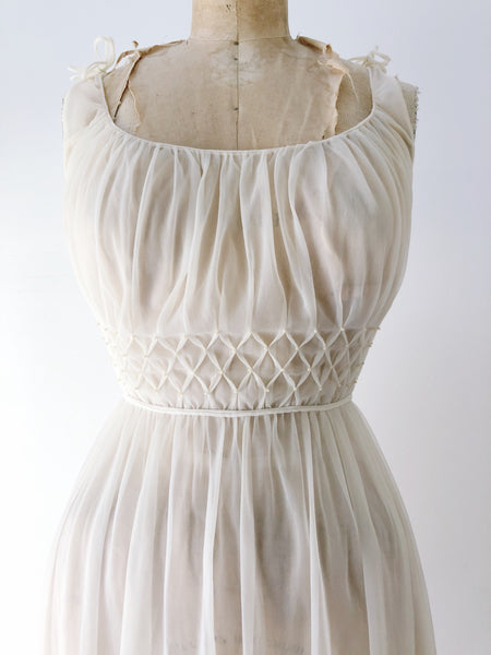1950s Ivory Pleated Nylon Slip Gown - S