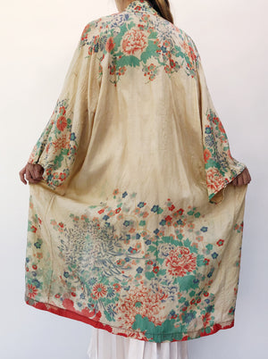 1920s Silk Ombre Floral Robe - One Size