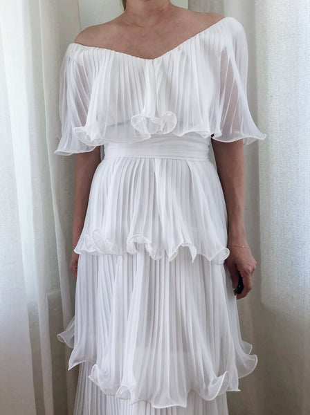 1970s White Pleated Chiffon Dress - XS/S