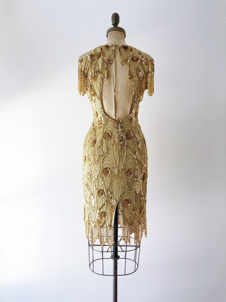 1980s Gold Silk Beaded Dress - S