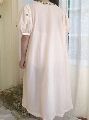 1950s Flocked Nylon Dressing Robe - S/M