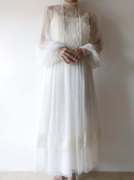 Vintage Poet Sleeve Chiffon Dress - S/M