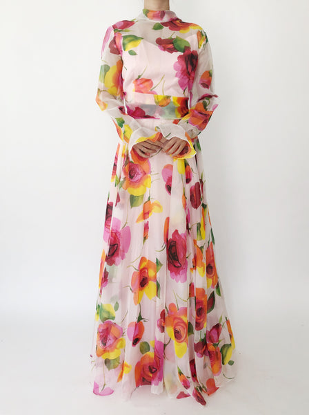 1980s Floral Chiffon Dress - M