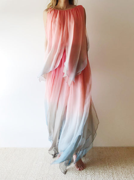 1970s Bill Blass Ombré Silk Dress - M