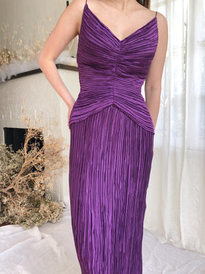 Vintage Amethyst Fortuny-Inspired Micro Pleated Dress - S