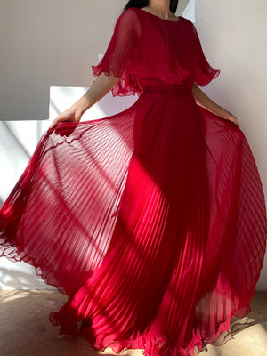 Vintage Ruby Pleated Chiffon Dress - S