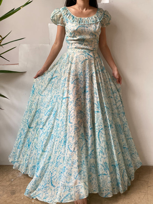 1940s Organdy Floral Toile Print Gown - XXS