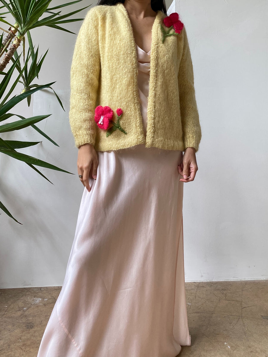 1950s Yellow Mohair Flower Embellished Cardigan - S