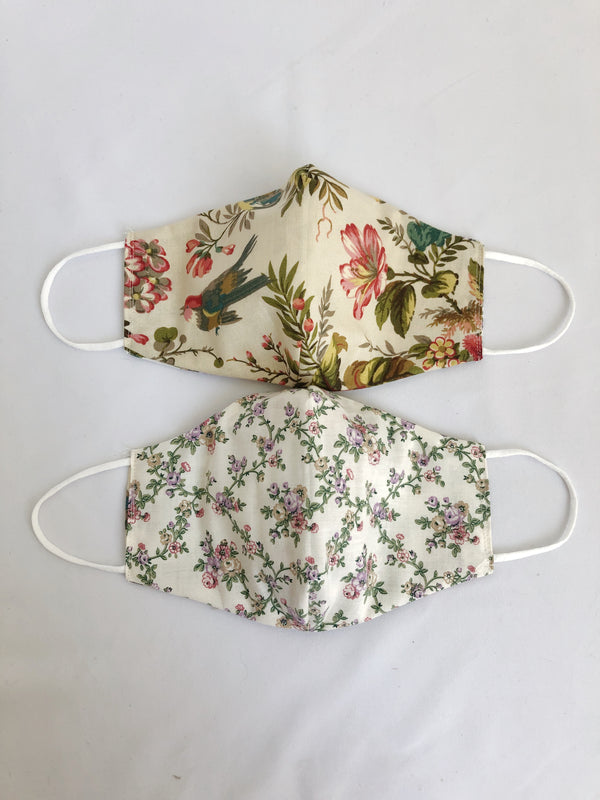 2-in-1 Reversible Beige Flowers Cotton Face Mask