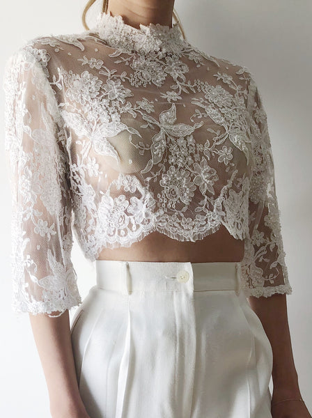 1950s Embroidered Lace Cropped Top - S