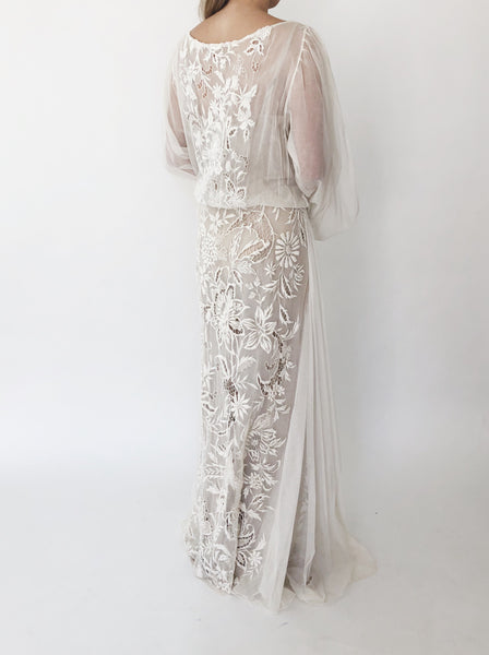 1930s Heavily Embroidered Tulle Dress - S/M