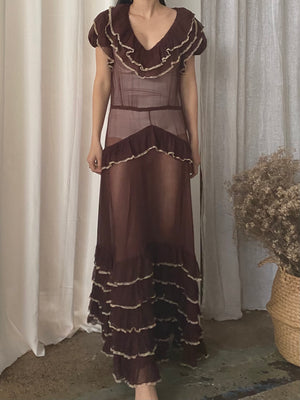 1930s Chocolate Silk Chiffon Ruffle Dress - S