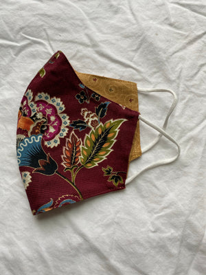 2-in-1 Reversible Burgundy Florals Cotton Face Mask with Filter Slot