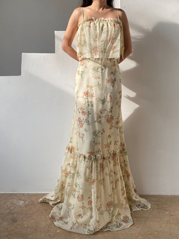 1970s Cotton Floral Maxi Dress - S/M