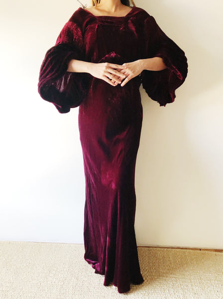 1930s Cranberry Silk Velvet Bias Cut Gown - S/M