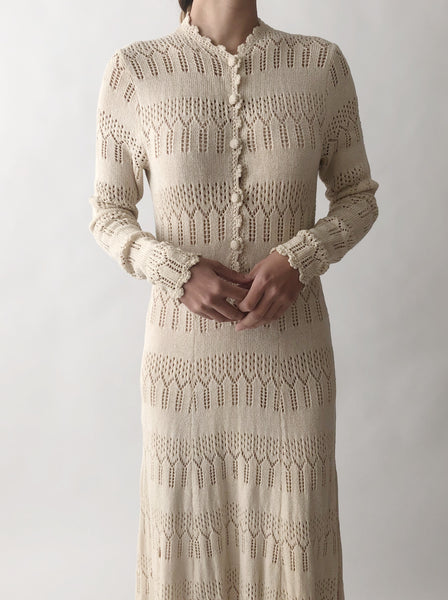 1970s Ecru Knit Dress - S/M