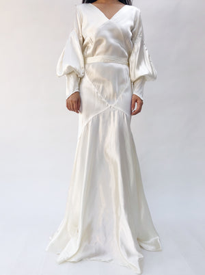 1930s Satin Puff Sleeve Wedding Gown - S/M
