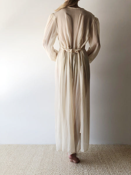 1930s Silk Chiffon Dressing Gown with Dragons - S