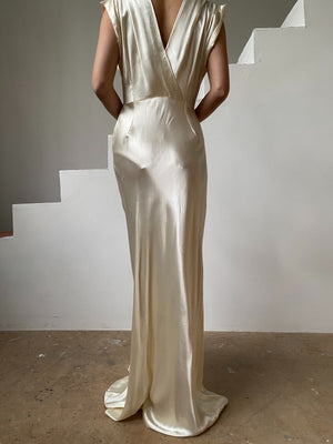 1930s Satin Bias Cut Gown - S