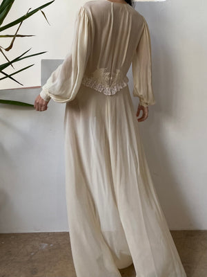 1930s Silk Crepe Dressing Gown - M