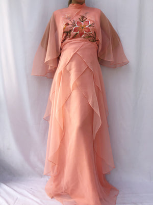 1960s Grapefruit Layered Chiffon Gown - S/M