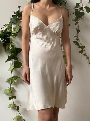 1980s Ivory Silk Short Bias Cut Slip Dress - S