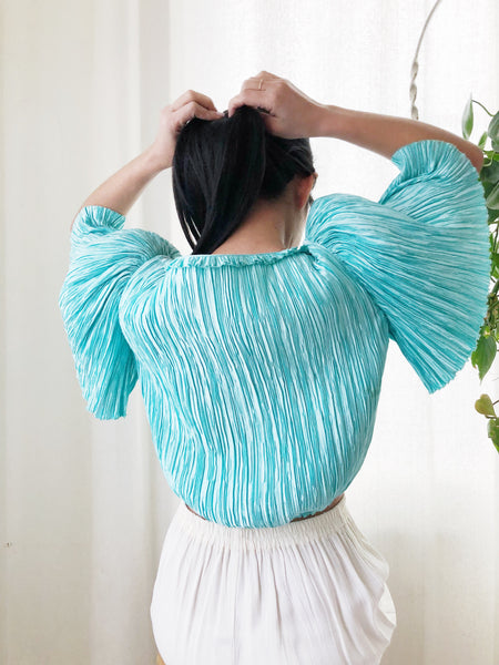 Vintage Teal Micro Pleated Top -S/M
