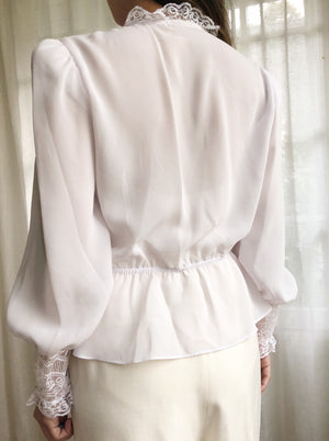 Vintage Off-White Chiffon Top - S/M