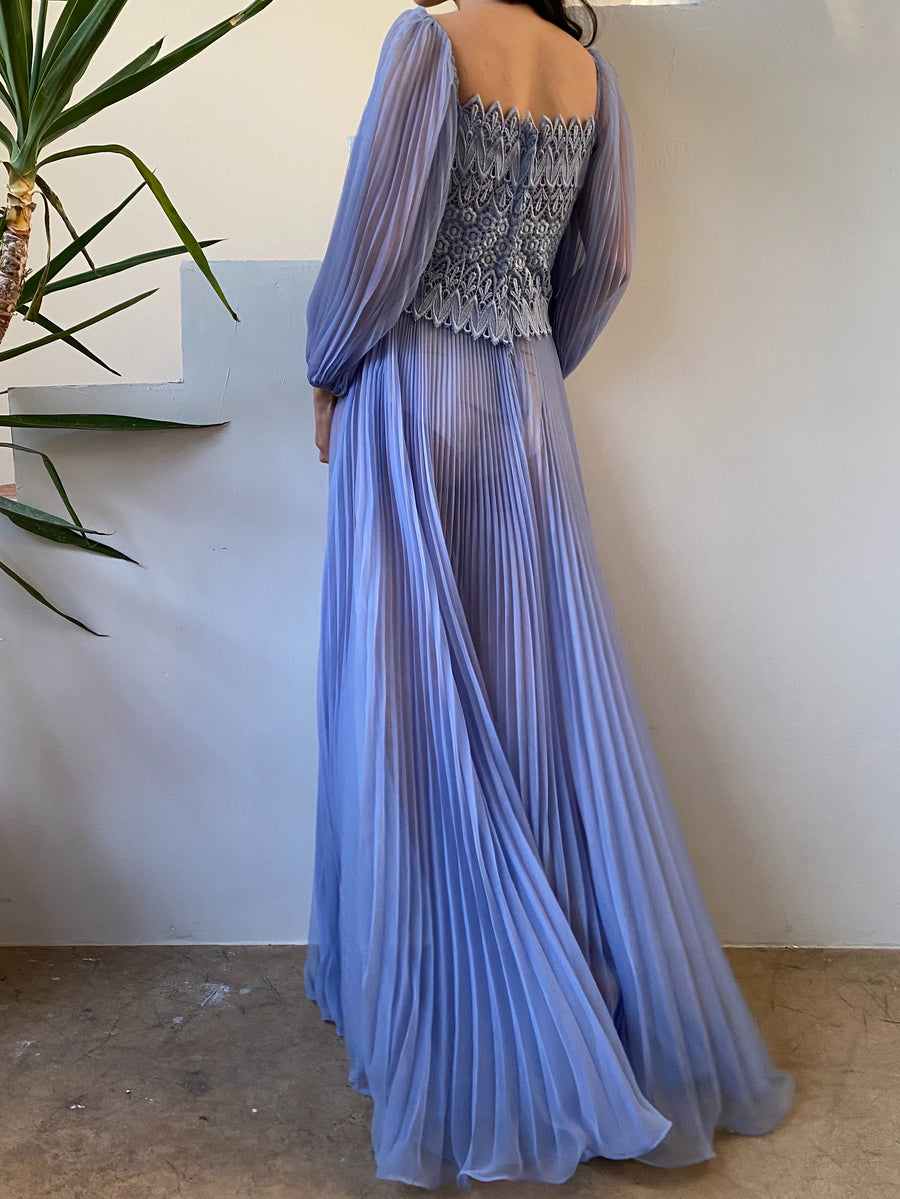 Vintage Periwinkle Sheer Chiffon Puff Sleeve Gown - S
