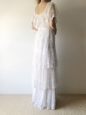 Rare Edwardian Tambour Gown - S