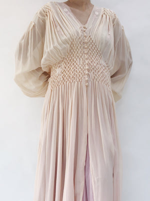 1940s Peach Honeycomb Dressing Gown - M/L