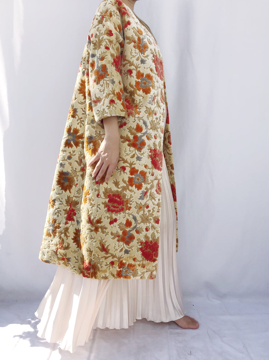 1960s Textured Flower Swing Coat - M