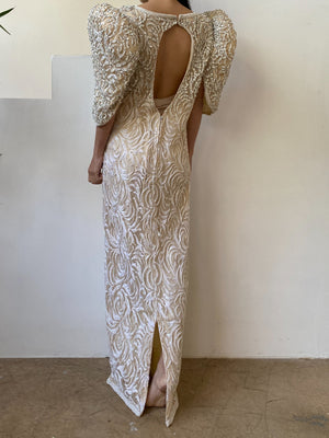1980s Ivory Lace Beaded Gown - S/M