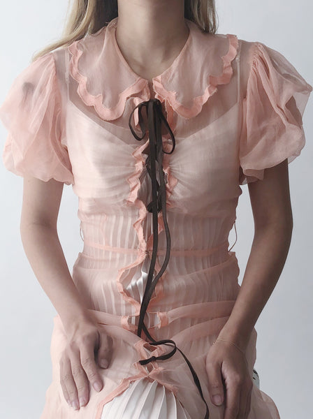 1940s Peach Net Silk Gown - XS