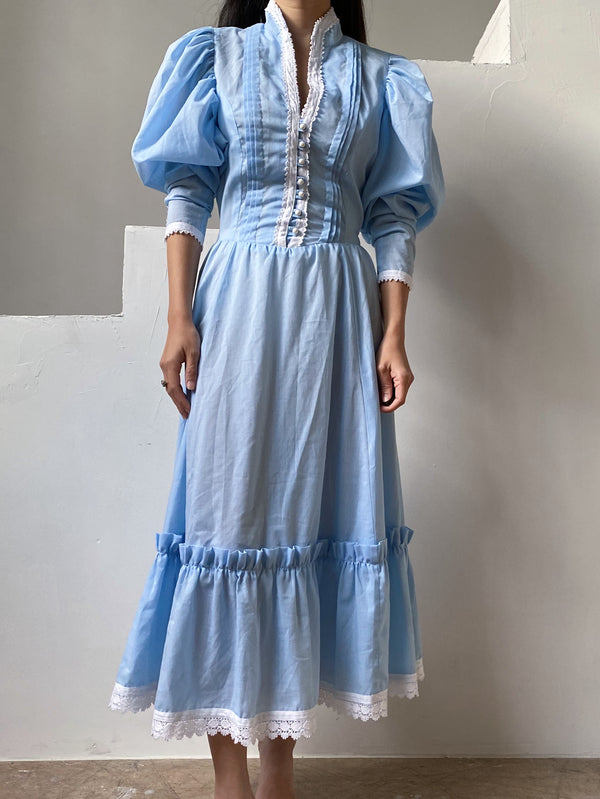 1970s Light Blue Mutton Sleeve Dress - XS/S