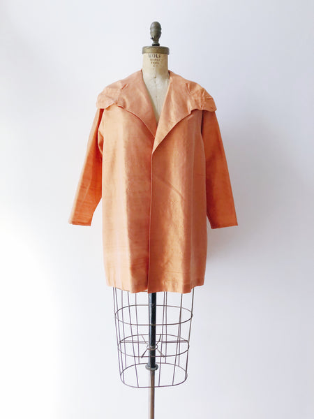 1960s Raw Silk Coat/Jacket - M