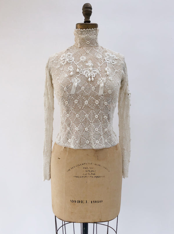 Antique Crochet Irish Lace Top - XS/S