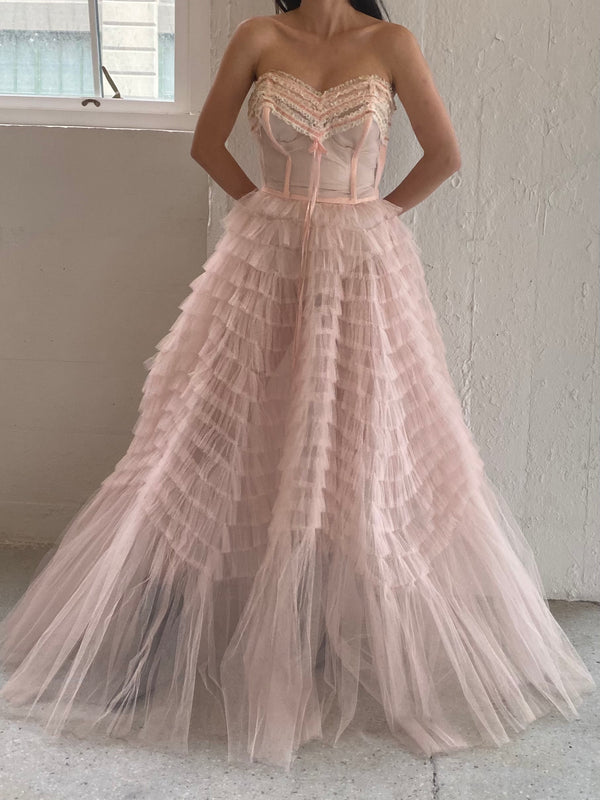 1950s Pink Tulle Tiered Dress - XS