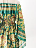 1980s Emerald Green Patterned Silk Scarf Dress - XS/S