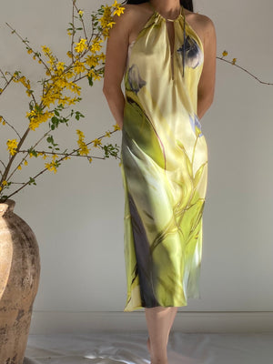 Vintage Floral Silk Slip Dress - S/M